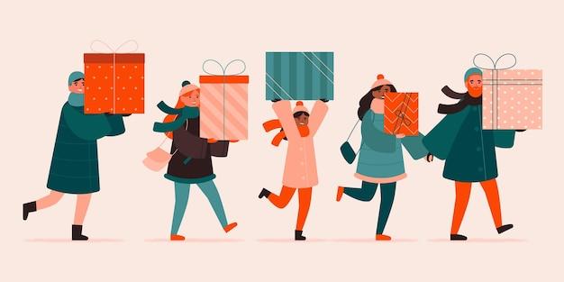 Escena de compras navideñas