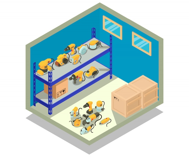 Escena de concepto de almacén