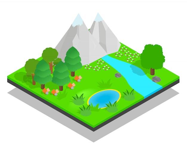 Escena de concepto de bosque limpio