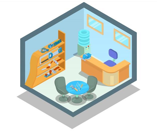 Escena de concepto de oficina instrumental