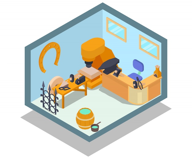 Escena de concepto de oficina de metal