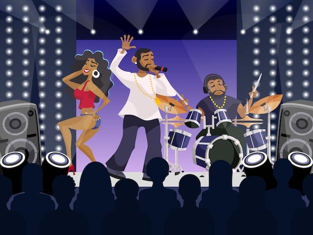 Escena de concierto de rap