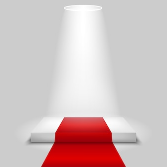 Escena de concurso realista con la alfombra roja y el centro de atención,