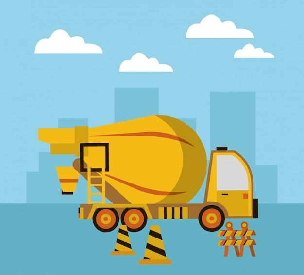 En escena de construcción con camión hormigonera