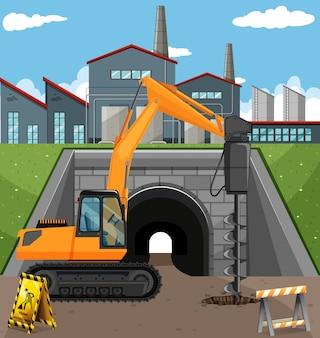 Escena de construcción de carreteras con perforadora