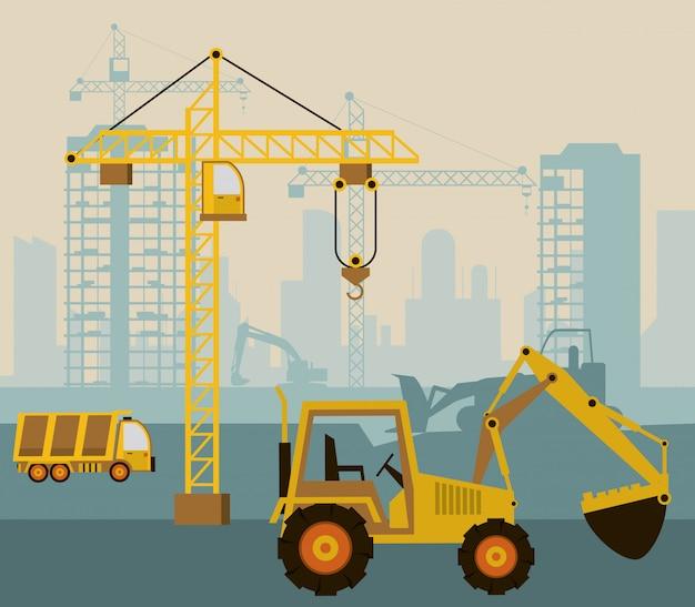 En escena de construcción con excavadora