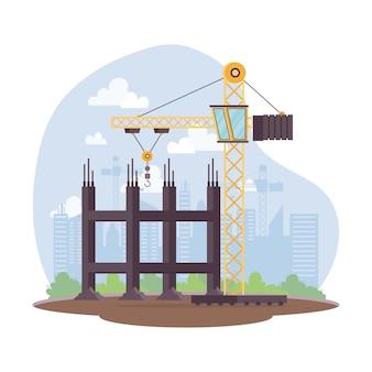 Escena de construcción con torre de grúa en el lugar de trabajo, diseño de ilustraciones vectoriales
