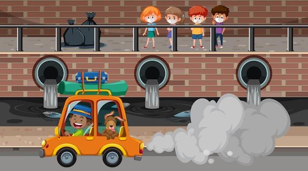Escena con contaminaciones del aire y del agua en la ciudad.
