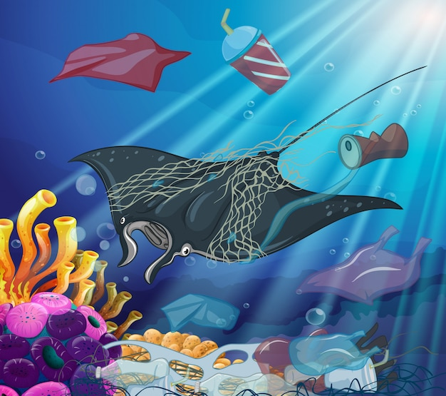 Escena de control de la contaminación con criaturas marinas y basura vector gratuito