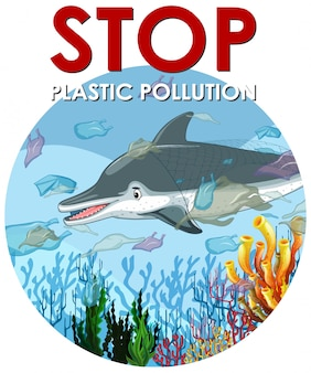Escena de control de la contaminación con delfines y bolsas de plástico.