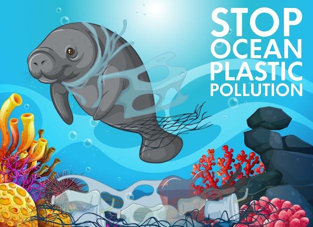 Escena de control de contaminación con manatí en el océano
