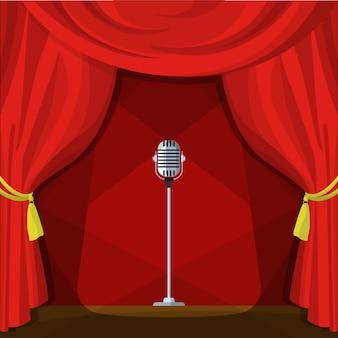 Escena con cortinas rojas y micrófono retro. ilustración del vector en estilo de dibujos animados.