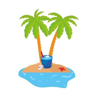Escena de la costa de verano con palmeras y cubo de agua