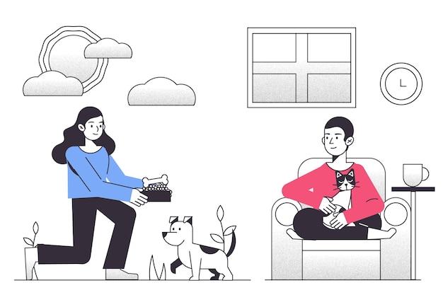 Escena cotidiana con mascotas.