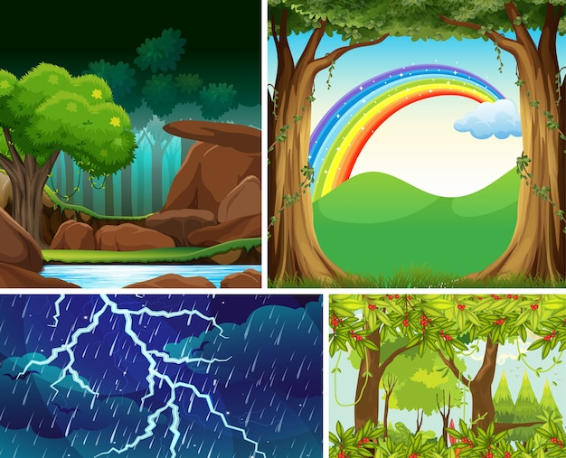 Escena de cuatro desastres naturales diferentes del estilo de dibujos animados del bosque