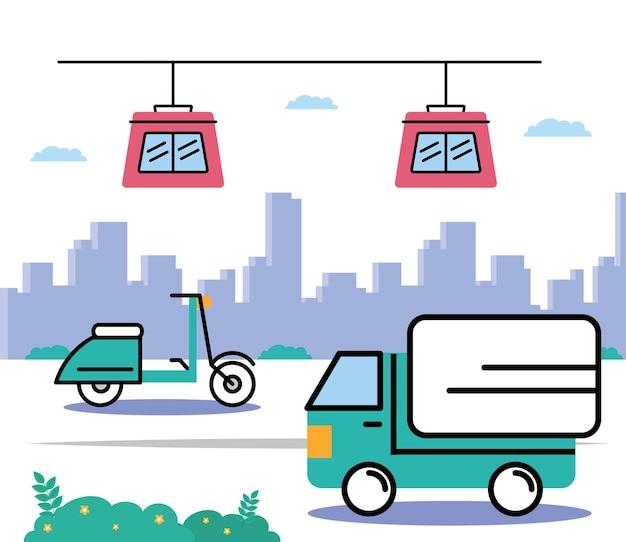 Escena de cuatro vehículos de transporte.