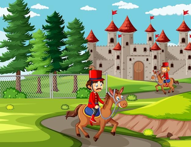 Escena de cuento de hadas con castillo y soldado escena de la guardia real.
