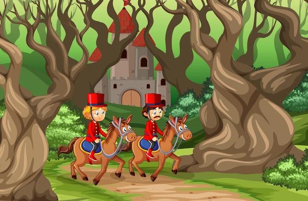 Escena de cuento de hadas con castillo y soldado guardia real en la escena del bosque
