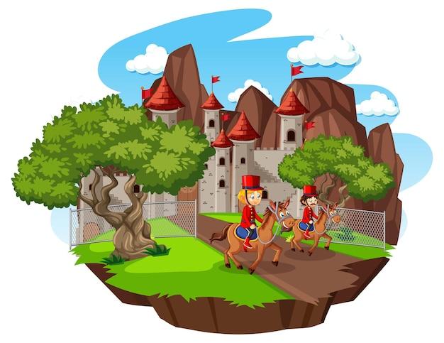 Escena de cuento de hadas con castillo y soldado de la guardia real.