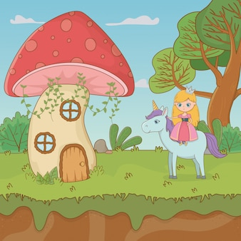 Escena de cuento de hadas con hongo y princesa en unicornio