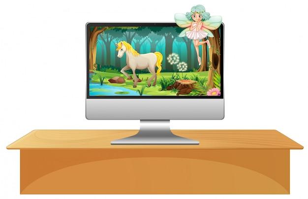 Escena de cuento de hadas en la pantalla de la computadora