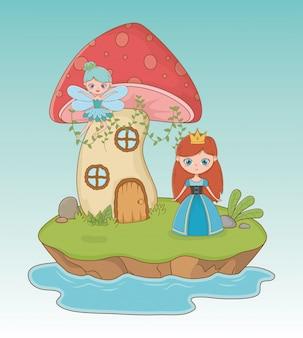 Escena de cuento de hadas con princesa y hada.