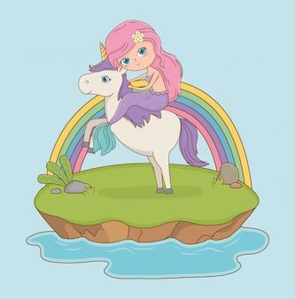 Escena de cuento de hadas con princesa en unicornio.