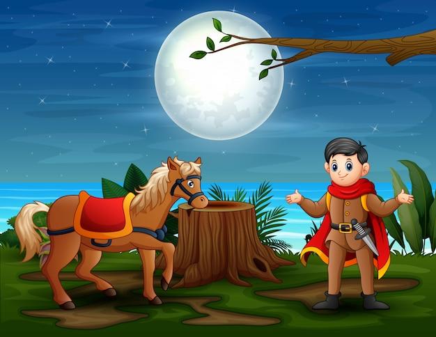 Una escena de cuento de hadas con el príncipe y el caballo por la noche.