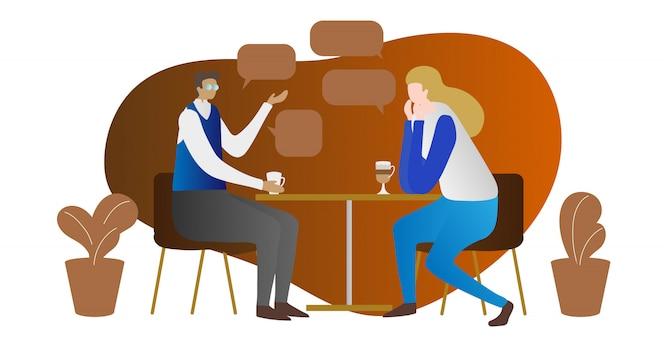 Escena de concepto de conversación privada con dos personas en café