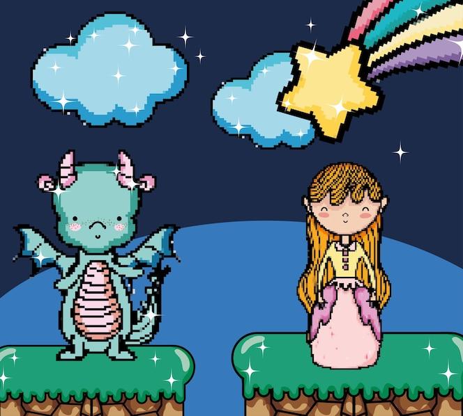 Escena de fantasía de videojuego pixelado con dibujos animados de princesa