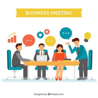 Escena de reunión de negocios con elementos