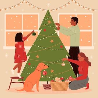 Escena de decoración de árbol de navidad
