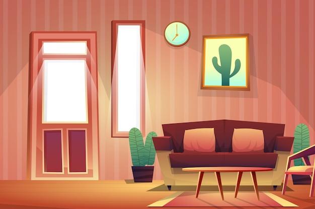 Escena decorada en sala de estar con sofá y silla, reloj con marco de imagen en la pared