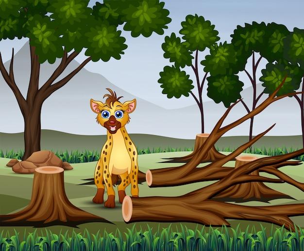 Escena de deforestación con una hiena hambrienta