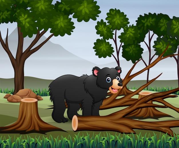 Escena de deforestación con ilustración de oso y madera