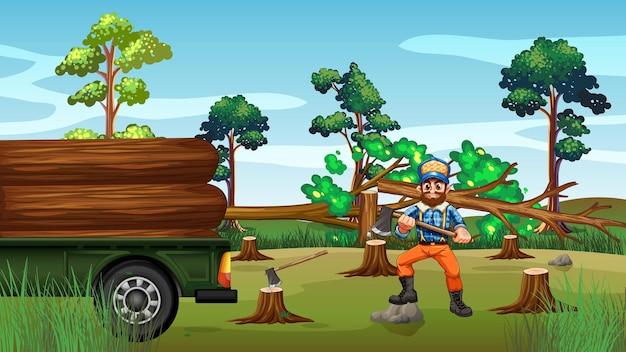 Escena de deforestación con madera cortando árboles.