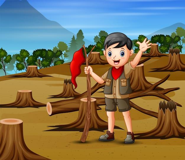 Escena de deforestación con un niño explorador
