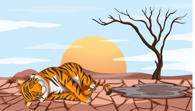 Escena de deforestación con tigre muriendo de sequía
