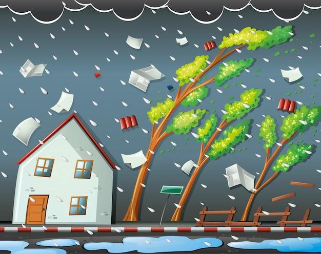 Escena de desastre natural con huracán