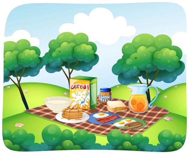 Escena con desayuno saludable en jardín