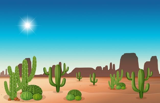 Escena del desierto con cactus