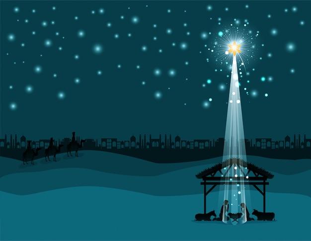 Escena del desierto de navidad con la sagrada familia en establo
