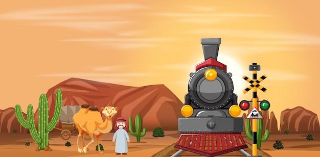 Escena del desierto con tren y camello.