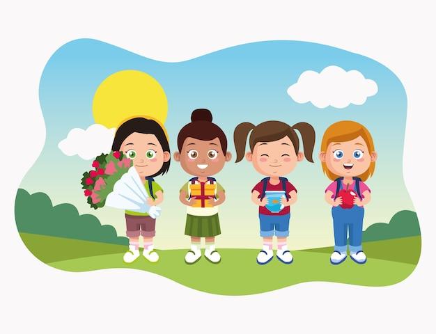 Escena del día del maestro feliz con las niñas estudiantes en el campamento.