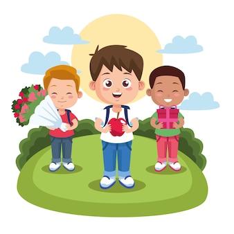 Escena del día del maestro feliz con niños estudiantes con ramo de flores en el campamento.
