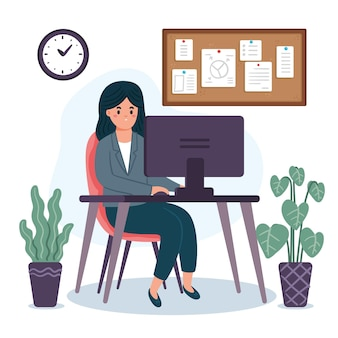 Escena de día de trabajo plano orgánico