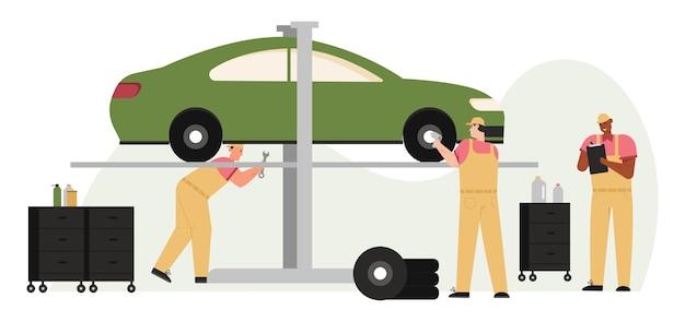 Escena de diagnóstico, servicio y mantenimiento de automóviles.