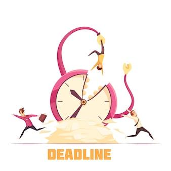 Escena de dibujos animados de desastre fecha límite