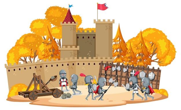 Escena de dibujos animados de guerra medieval