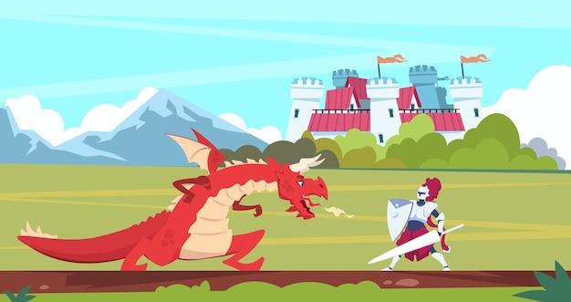 Escena de dibujos animados medieval. dragón y caballero guerrero lucha, monstruo y príncipe personajes planos de cuento de hadas.